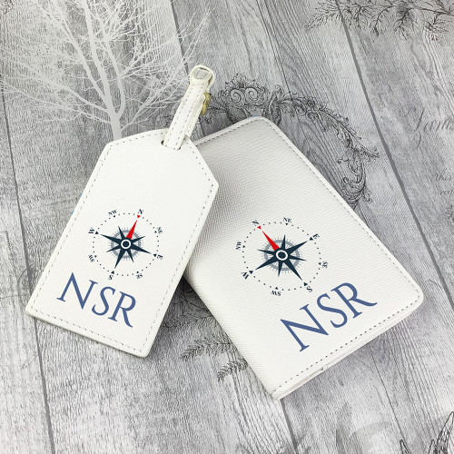 Personalised compass design passport cover and luggage tag set for a globe trotter.