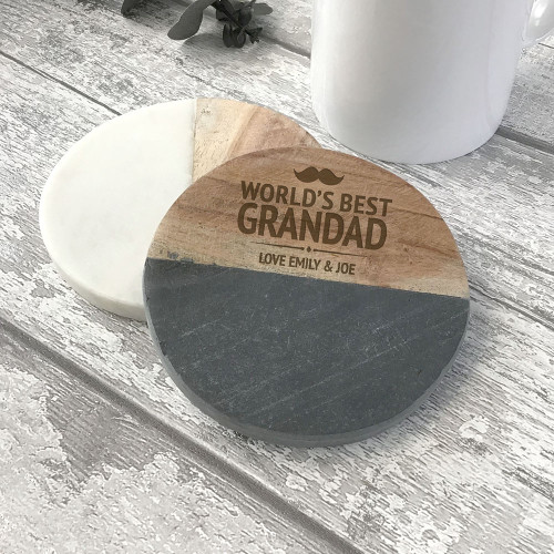 World's best grandad, natural stone and wood drinks coaster gift