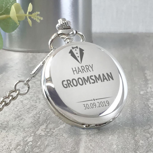 Engraved groomsman silver pocket watch wedding thank you gift idea