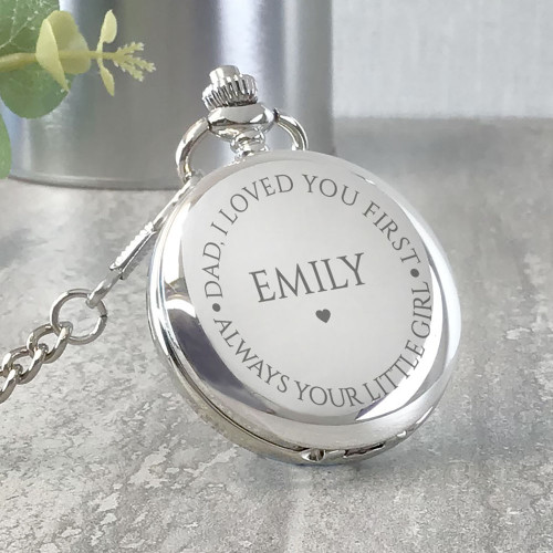 Father of the bride wedding day pocket watch, loved you first - always your little girl
