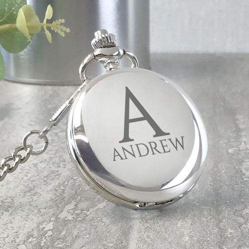 Initial and monogrammed pocket watch personalised engraved gift idea in a presentation gift tin