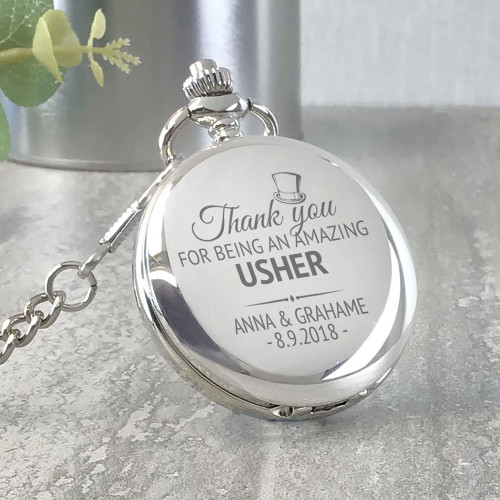 Engraved usher pocket watch personalised wedding thank you gift, top hat