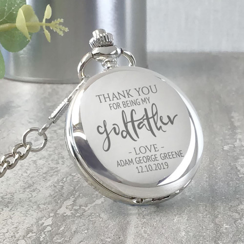 Thank you for being my godfather engraved, personalised pocket watch gift idea for a christening or baptism.