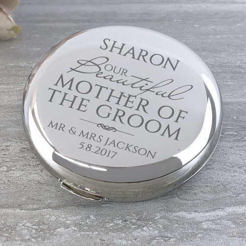 'Our beautiful Mother of the Groom' round compact mirror wedding thank you gift idea.