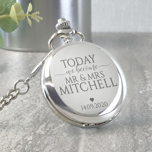 """Today we become Mr and Mrs"" Engraved pocket watch, wedding keepsake."