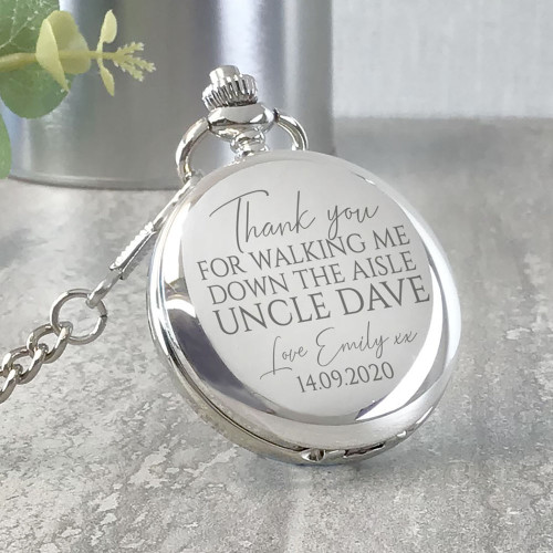 Thank you for walking me down the aisle, personalised engraved pocket watch wedding  day keepsake.
