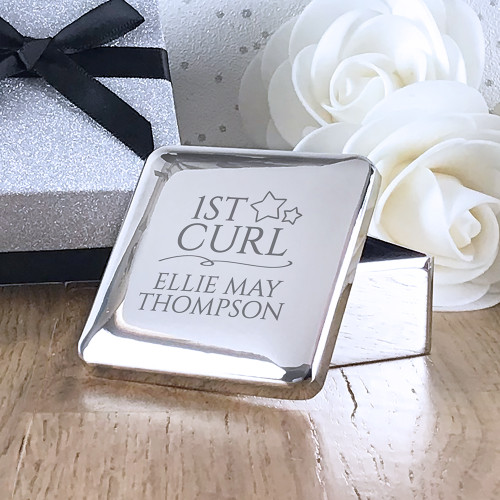 1st curl engraved silver plated keepsake trinket box for a newborn baby or first birthday gift