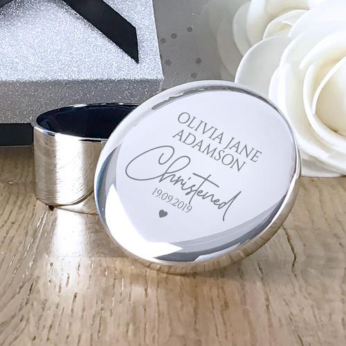Personalised engraved christening trinket box silver plated keepsake gift idea.