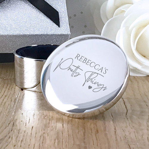 Pretty things, engraved silver plated trinket jewellery box gift