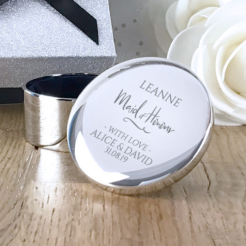 Personalised maid of honour round silver trinket box engraved wedding gift