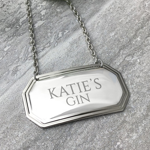 Personalised gin, whiskey, brandy, rum, wine or champagne bottle engraved tag