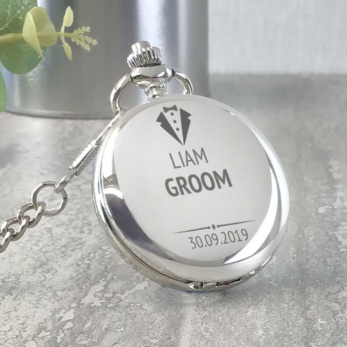 Engraved groom silver pocket watch wedding thank you gift idea