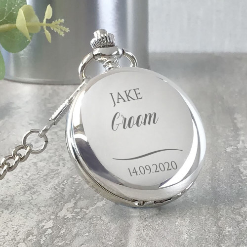 Engraved groom pocket watch wedding keepsake gift