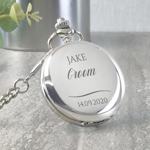 Engraved groom pocket watch wedding keepsake gift