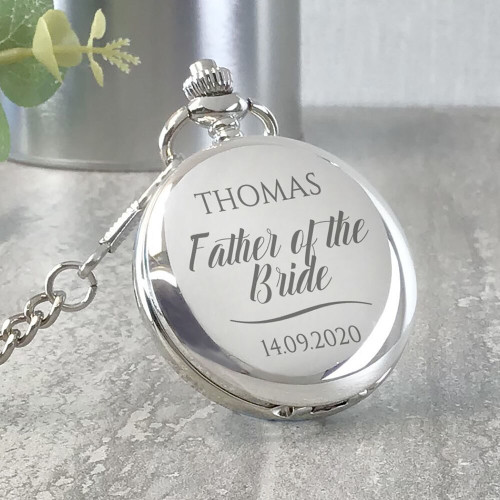 Engraved father of the bride pocket watch wedding keepsake gift