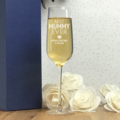 Best mummy ever champagne flute glass, personalised and engraved - presented in a gift box
