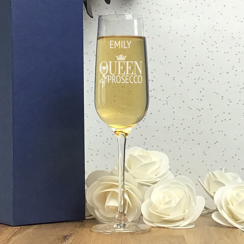 Prosecco queen personalised champagne glass flute gift