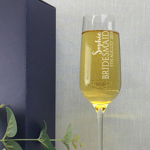 Personalised bridesmaid wedding champagne flute personalised wedding gift idea