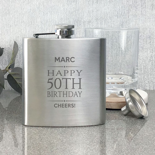 50th birthday stainless steel hip flask gift with personalised engraving.