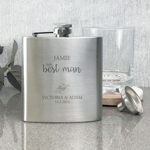 Best man, engraved stainless steel hip flask, wedding thank you gift.