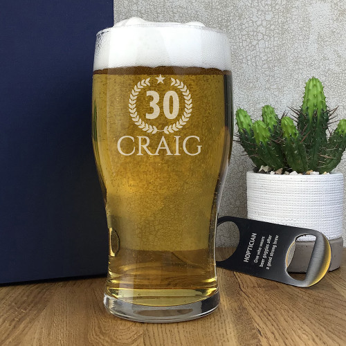 Personalised 30th birthday traditional tulip pint glass with laser engraving