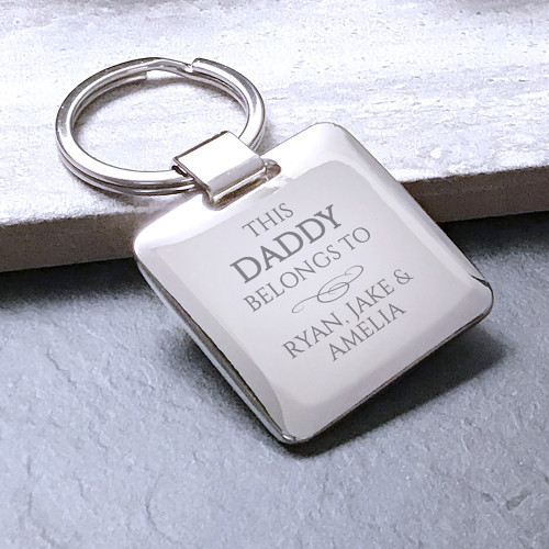 """This daddy belongs to..."" square silver plated personalised engraved keyring gift"