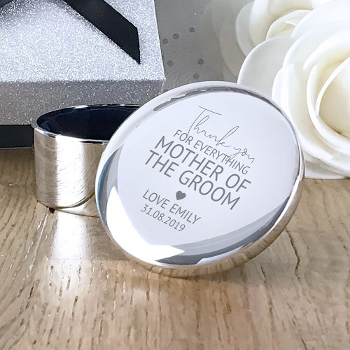 Thank you for everything, mother of the groom personalised engraved silver plated trinket jewellery box wedding gift