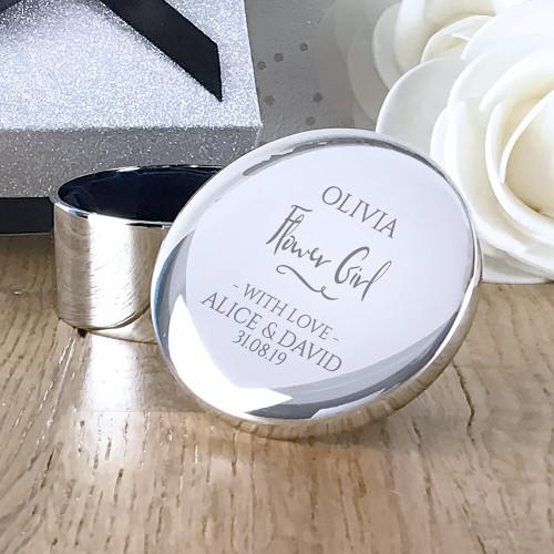 Personalised flower girl round silver trinket box, engraved wedding gift