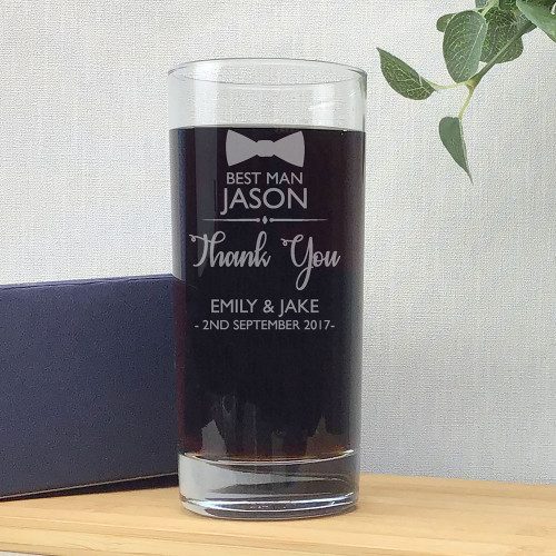 Laser engraved best man wedding glass gift, hi ball tumbler