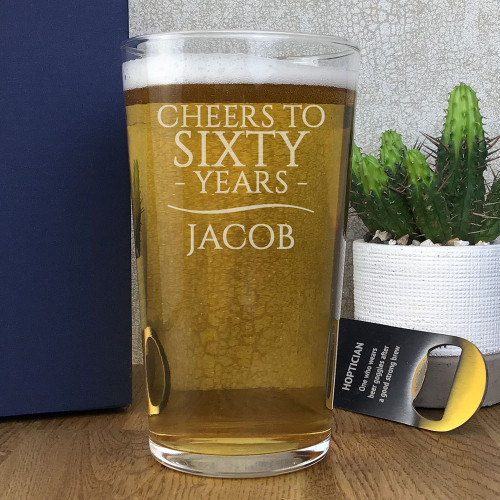Cheers to sixty years laser engraved pint glass personalised gift