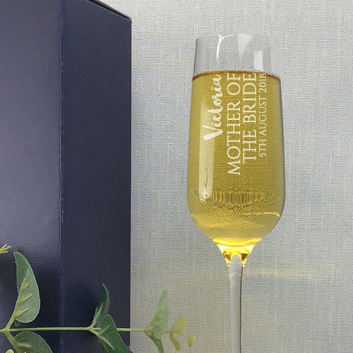 Personalised mother of the bride wedding champagne flute personalised wedding gift idea