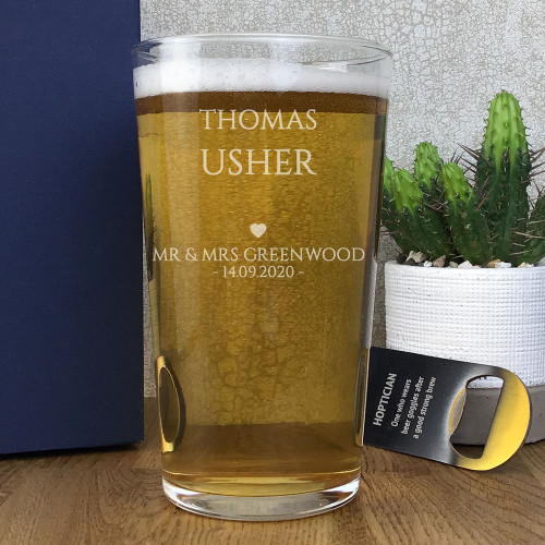 Personalised engraved usher pint glass wedding gift