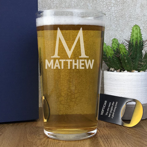 Personalised pint glass gift for a beer lover, laser engraved with a name and an initial
