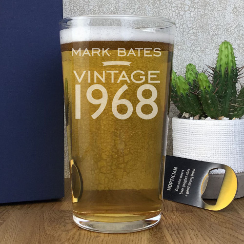 Laser engraved, personalised pint glass birthday gift, with the year of birth