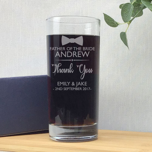 Laser engraved father of the bride wedding glass gift, hi ball tumbler