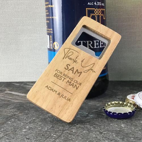 Best man personalised engraved wooden bottle opener