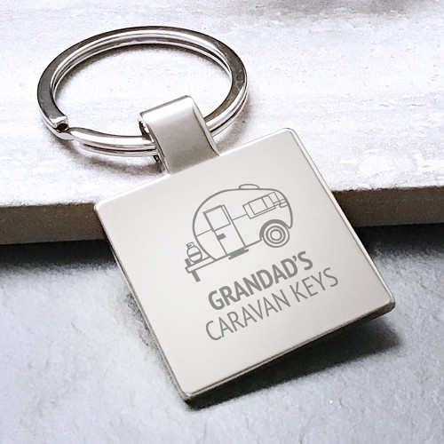 Engraved caravan keyring personalised gift for grandad, presented in a drawstring gift bag