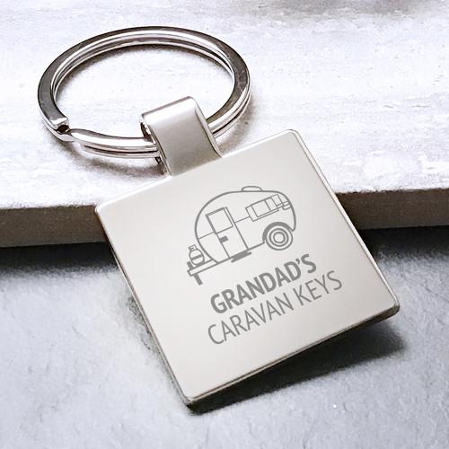 Engraved caravan keyring personalised gift for grandad, presented in a drawstring gift bag