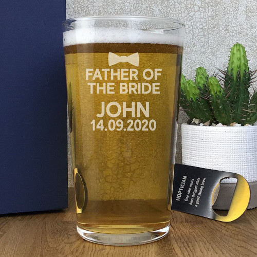 Laser engraved father of the bride pint glass personalised wedding gift