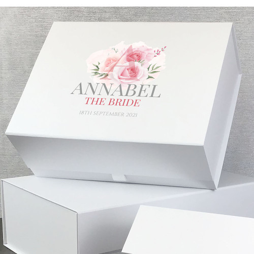 The bride, personalised gift box with rose design and personalisation.