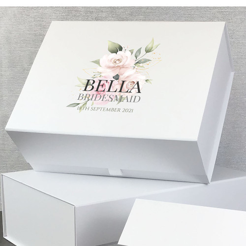 Personalised gift box with a bohemian flower design, gifts for the bridal party.