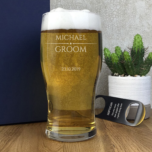 Laser engraved groom personalised tulip pint glass wedding gift