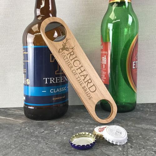 Personalised laser engraved father of the bride wooden bar blade bottle opener wedding gift