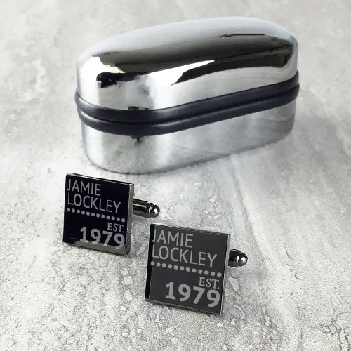 Gun metal grey cufflinks for milestone birthdays, personalised gift for him.