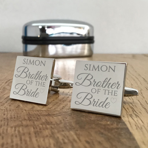 Brother of the bride, silver engraved cufflinks, keepsake wedding gift idea.