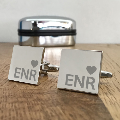 Personalised engraved monogram silver cufflinks gift for him