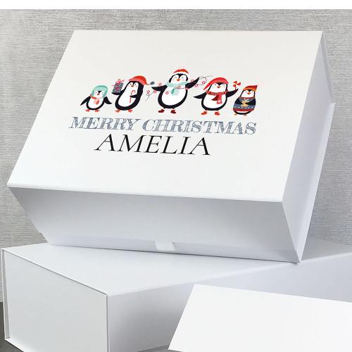 Christmas penguins, personalised gift box for Christmas.