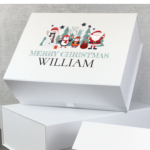 Christmas scene, personalised gift box for Christmas.