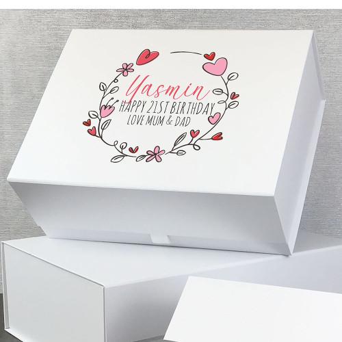21st birthday, love heart gift box with personalisation, birthday gift idea.
