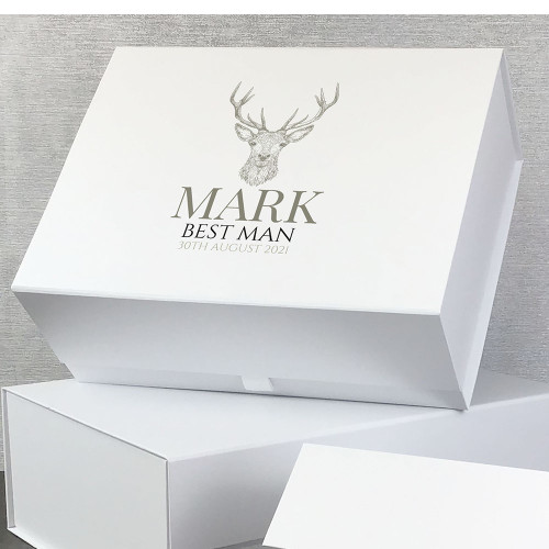 Stag design personalised gift box for the best man.
